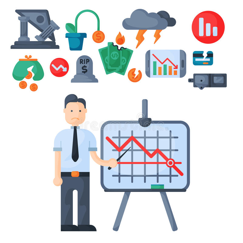 Crisis symbols concept problem economy banking business finance design investment icon vector. Crisis symbols concept and problem economy banking business stock illustration