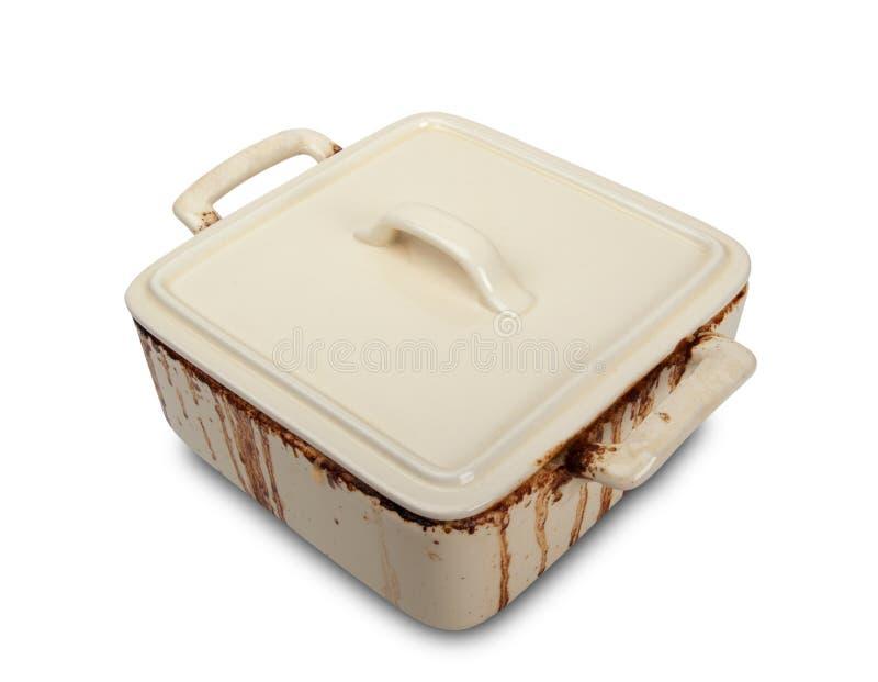 Crisol de cerámica sucio para la estufa imagen de archivo libre de regalías