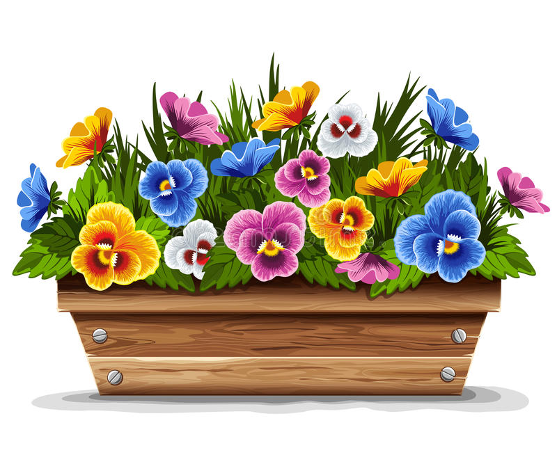 Crisol de flor de madera con los pensamientos libre illustration