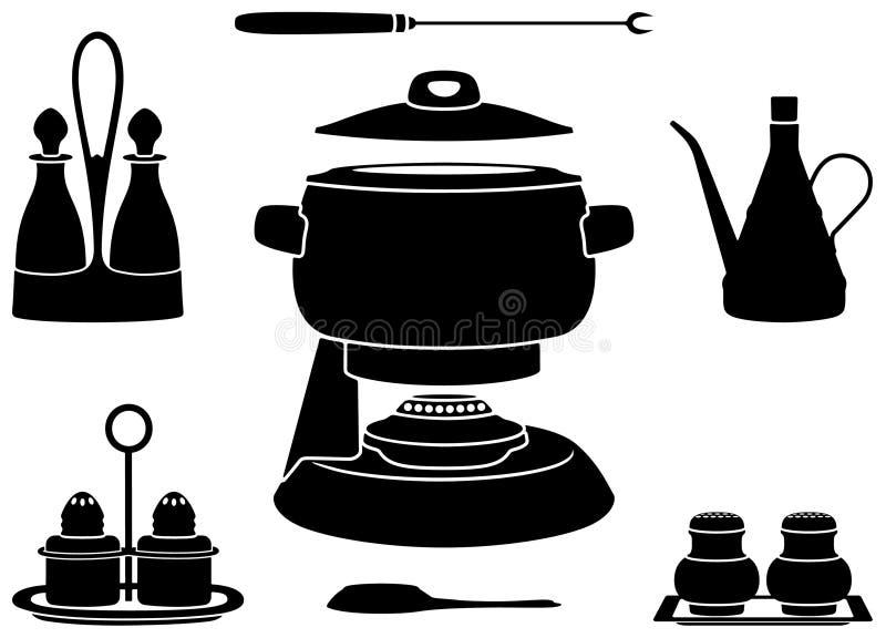 Crisol de la 'fondue' stock de ilustración