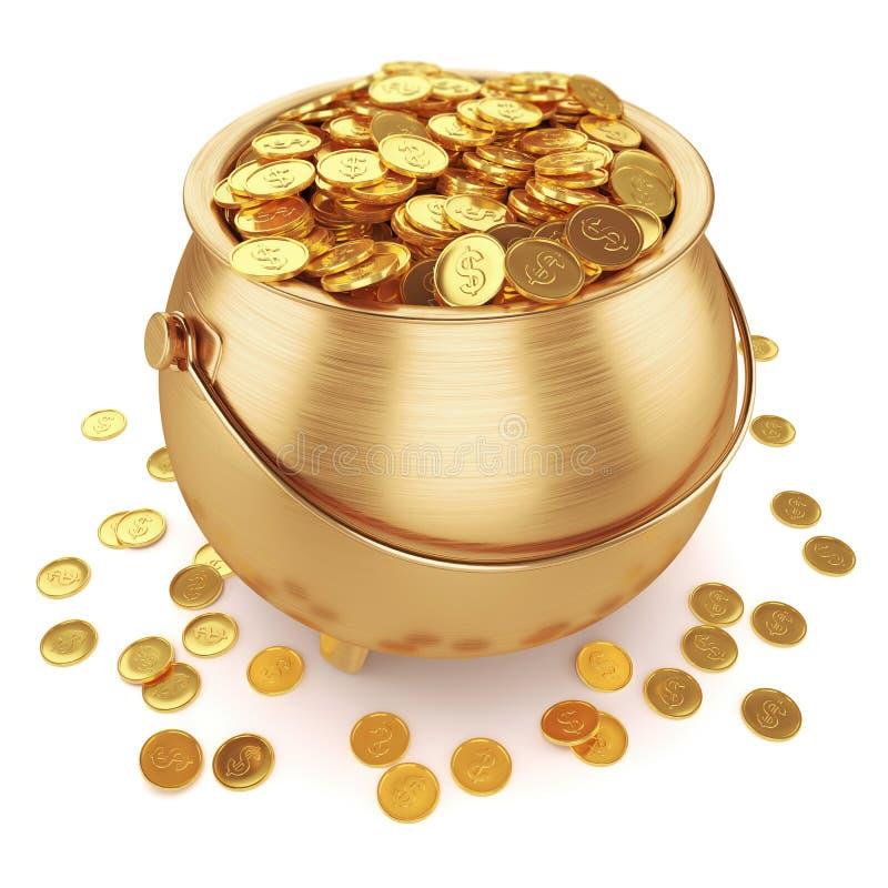 Crisol de monedas de oro stock de ilustración