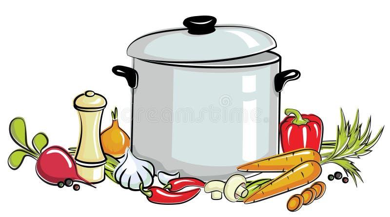 Crisol de sopa stock de ilustración
