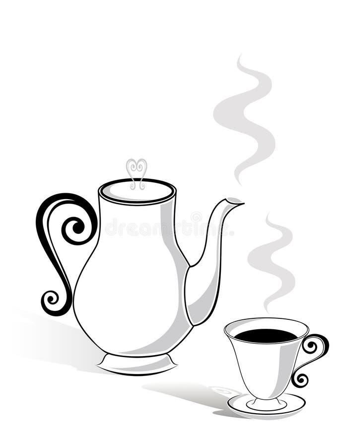 Crisol del café y una taza stock de ilustración