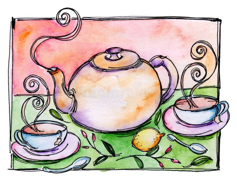 Crisol del té y té en tazas stock de ilustración