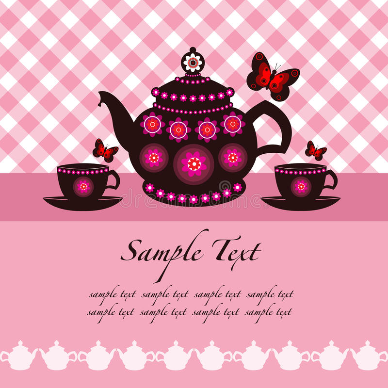 Crisol del té y tazas de té stock de ilustración