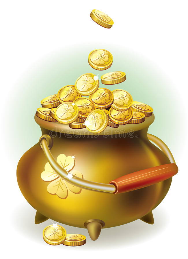 Crisol mágico con la moneda de oro ilustración del vector