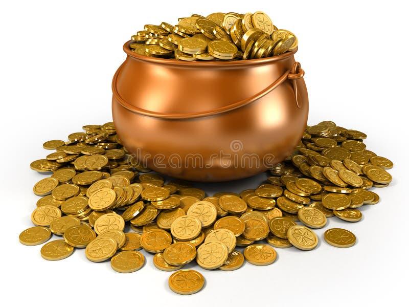 Crisol por completo de monedas de oro libre illustration
