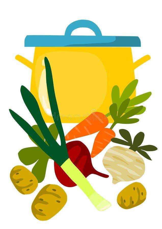 Crisol y cosas para la sopa sabrosa libre illustration