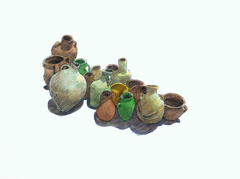 Crisoles de la cerámica fotos de archivo