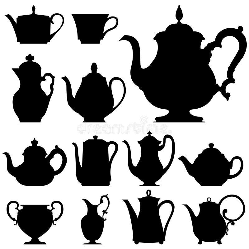 Crisoles del té y del café en silueta del vector ilustración del vector