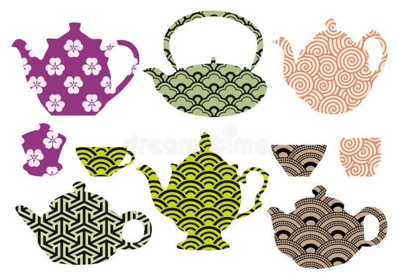 Crisoles y tazas del té con el modelo asiático, vector libre illustration