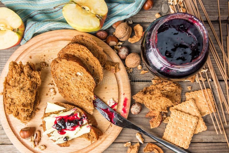 Crisp bread, butter, and jam stock images