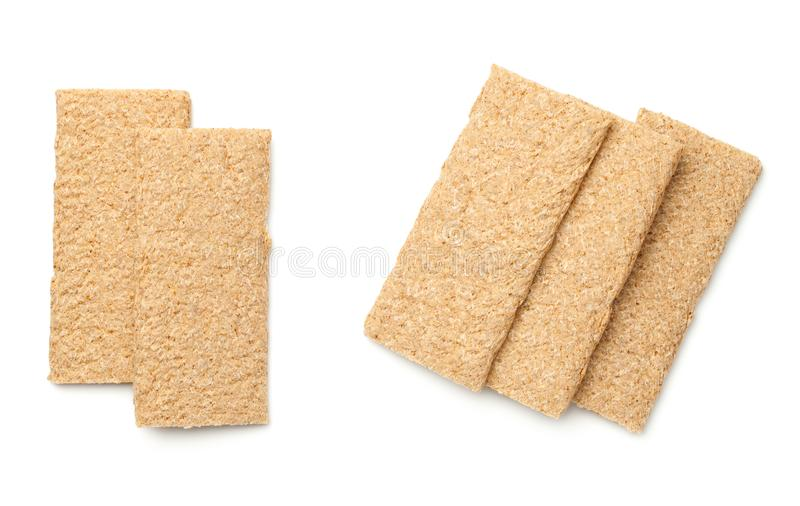 Crisp Bread Graham Isolated on White Background. Top view royalty free stock photos