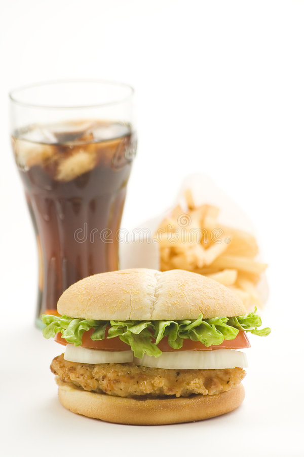 Free Crisp Chicken Burger Tomato Onion Cheese Lettuce Royalty Free Stock Photo - 8119315