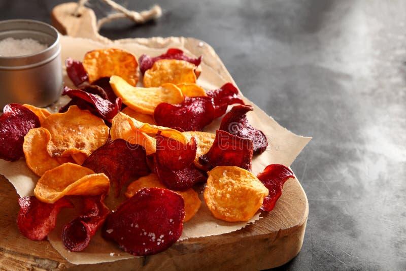 Crisp crunchy organic vegetable chips royalty free stock image