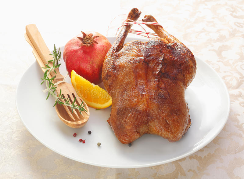 Crisp golden roast chicken stock photography