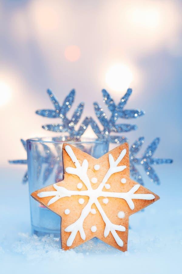 crisp golden star snowflake cookie stock photo