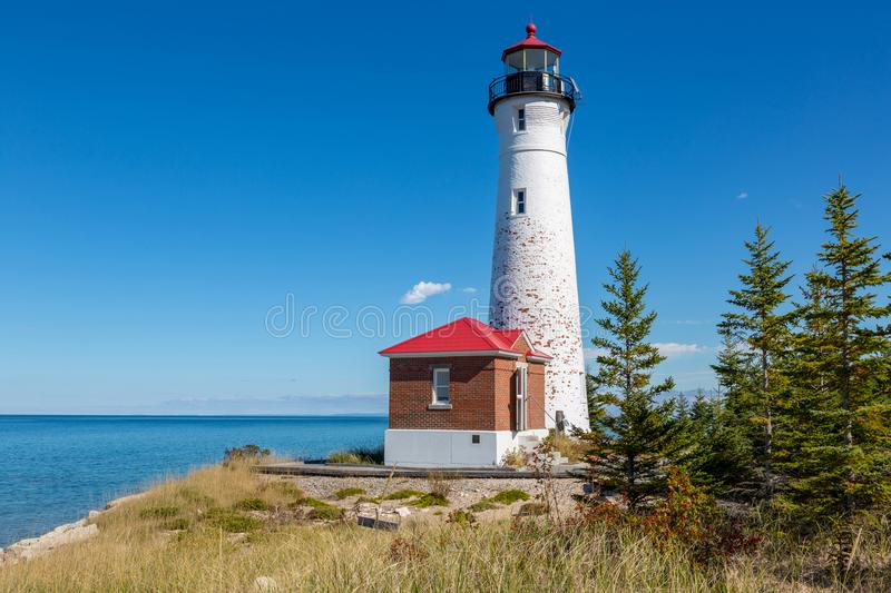 Crisp Point Lighthouse on the shores of Lake Superior in Norther. Remote Crisp Point Lighthouse on the shores of Lake Michigan in the Upper Peninsula of Michigan stock image