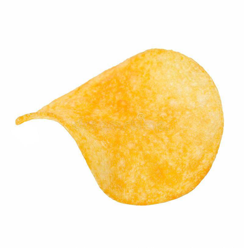 Crisp slice of chips. Close-up. White isolated background. royalty free stock photography