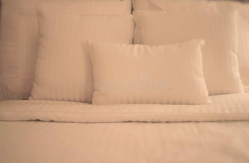 Crisp White Sheets on Bed stock image