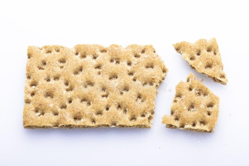 Crispbread. Slice of fibre crispbread, healthy food stock photos