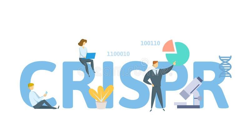 CRISPR, genoma che pubblica tecnologia Concetto con le parole chiavi, le lettere e le icone Illustrazione piana di vettore su bia illustrazione vettoriale