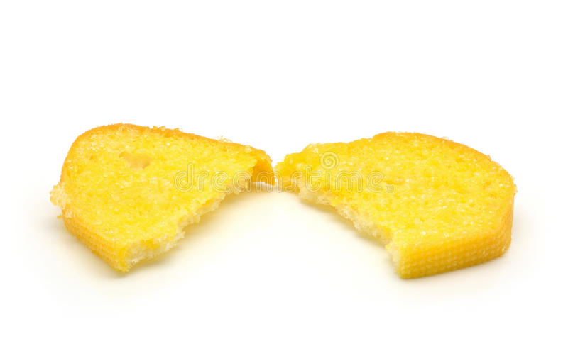 Crispy bread butter with sugar on white stock photography