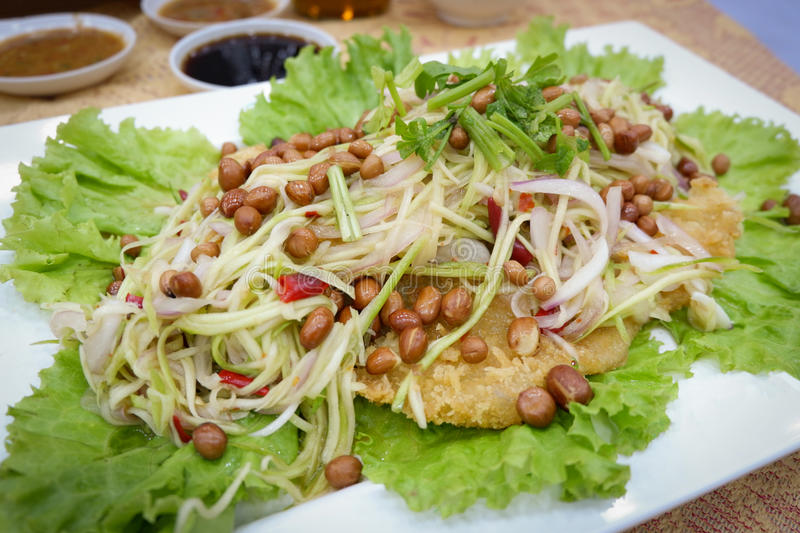 Crispy catfish salad with green mango. Thailand style Food royalty free stock photos