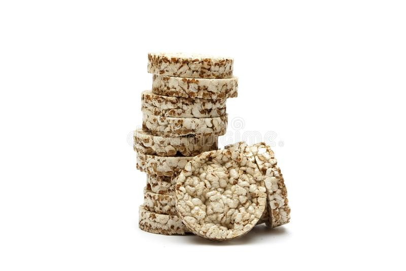 Crispy crispbread with buckwheat, rice and oatmeal isolated on white background. Crisp dietary fitness bread. Food for weight loss.  stock photo