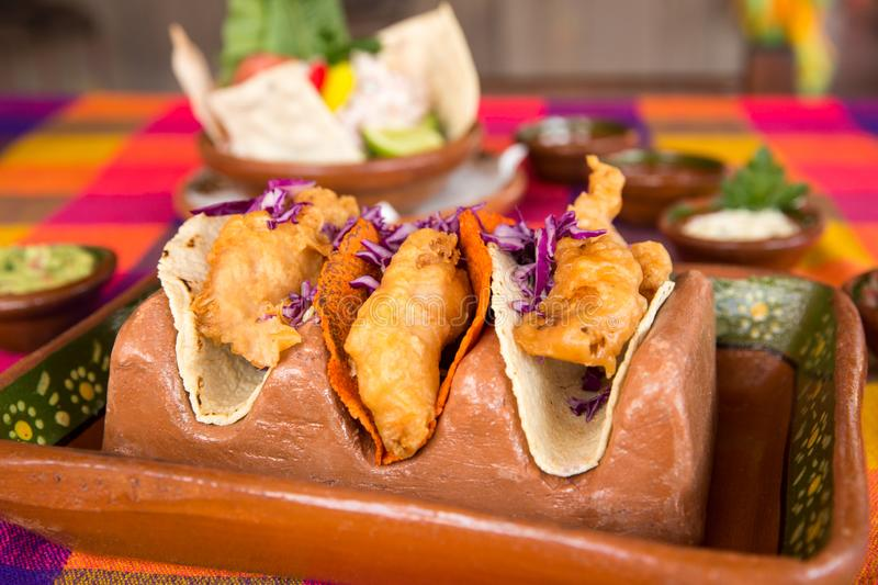 Crispy Fish Tacos for lunch royalty free stock image