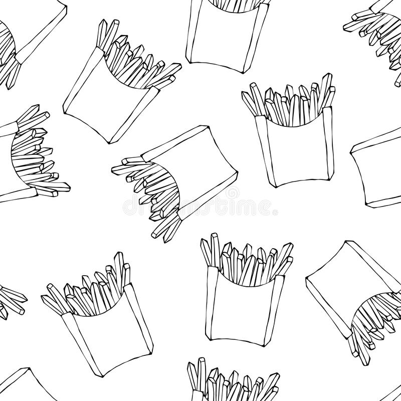 Crispy french fries seamless pattern with paper boxes of fried potato. Vector Illustration Isolated On a White royalty free illustration