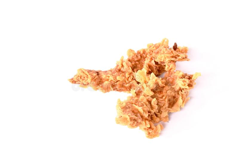 Crispy fried chicken fillet with bread crumb and egg yolk on white background royalty free stock photos