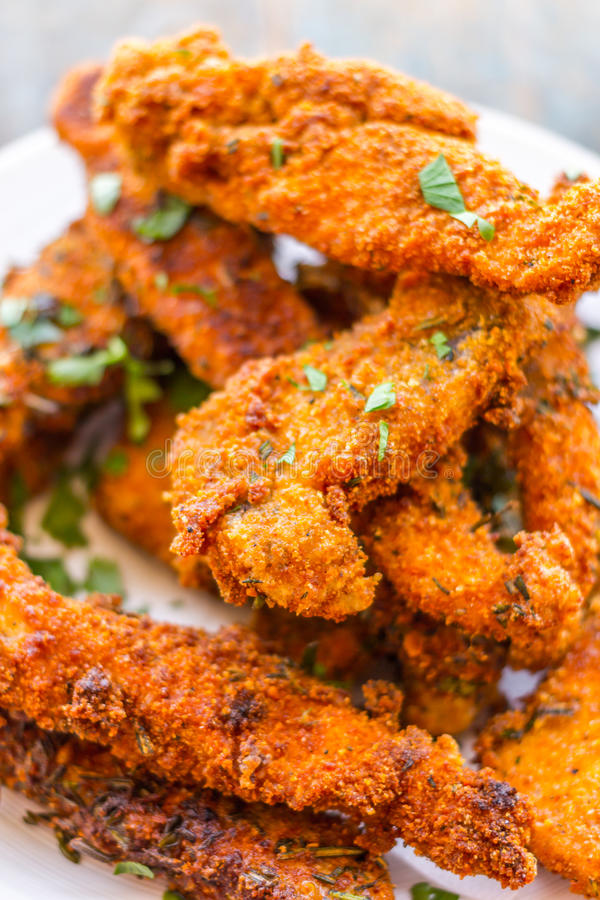 Crispy Fried Chicken Strips stock images