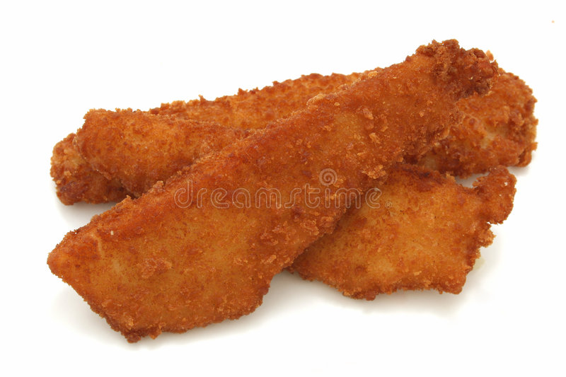 Download Crispy Fried Fish Planks Over White Background Stock Photo - Image: 78622