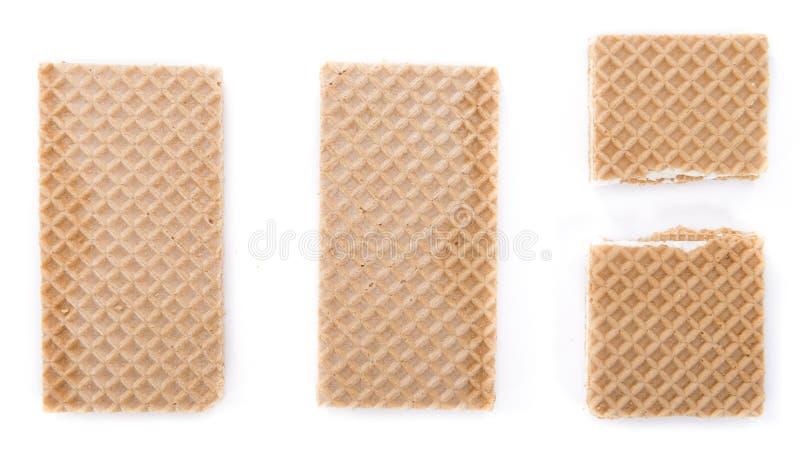 Crispy gofry z Waniliową śmietanką (odizolowywającą na bielu) obraz stock