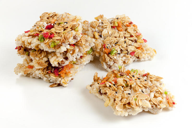 Crispy grains granola bar royalty free stock photography
