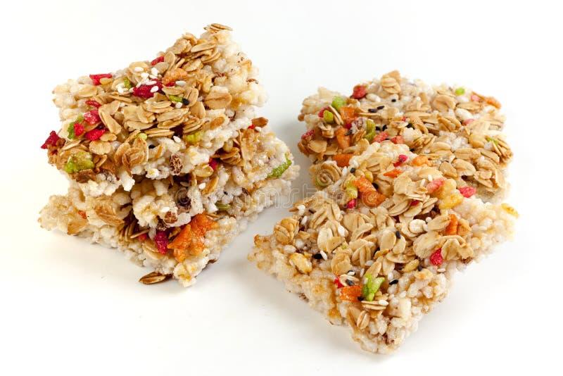 Crispy grains granola bar stock image