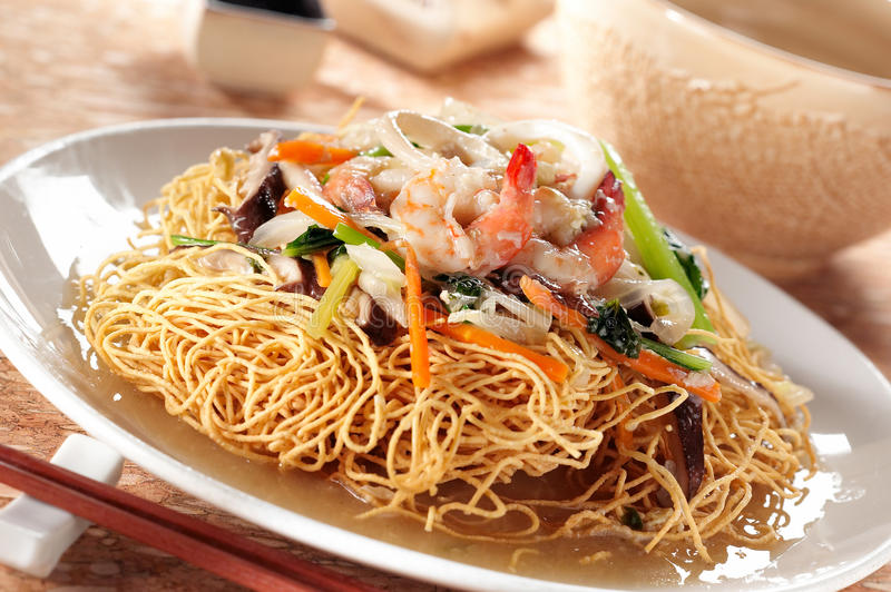 Crispy noodle and seafood stock photo