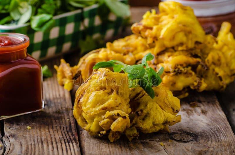 Crispy Onion Bhaji. Delicious street food, simple to make, very fast royalty free stock image