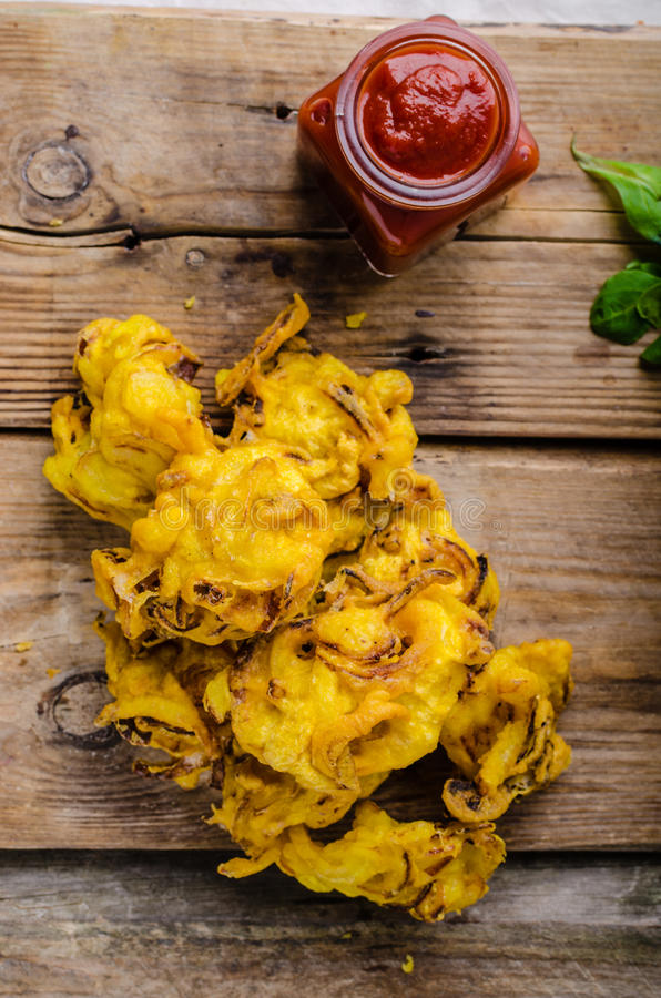 Crispy Onion Bhaji. Delicious street food, simple to make, very fast stock images
