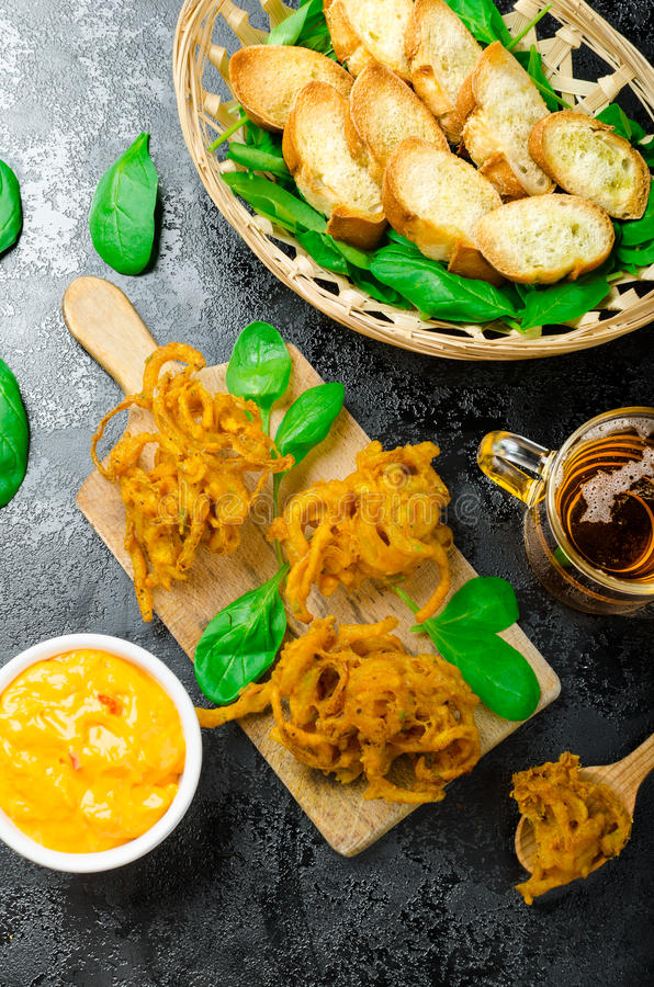 Crispy Onion Bhajis stock images
