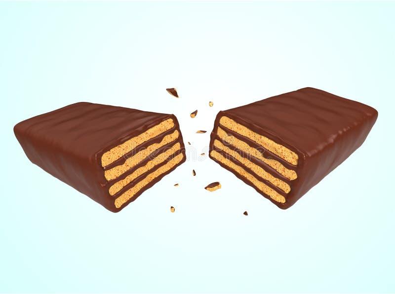 Crispy opłatkowy czekoladowy kremowy smak royalty ilustracja