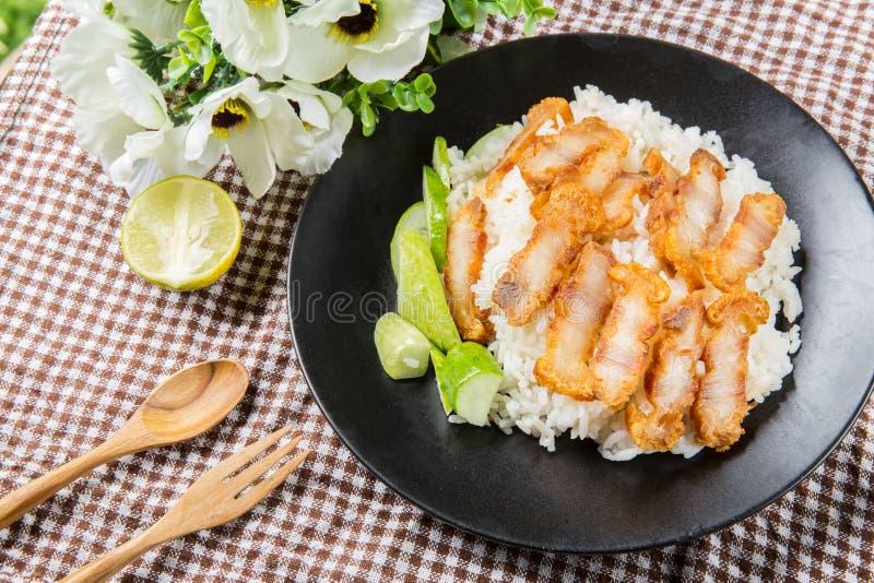 Crispy piec brzuch wieprzowiny chiński styl i ryż fotografia royalty free