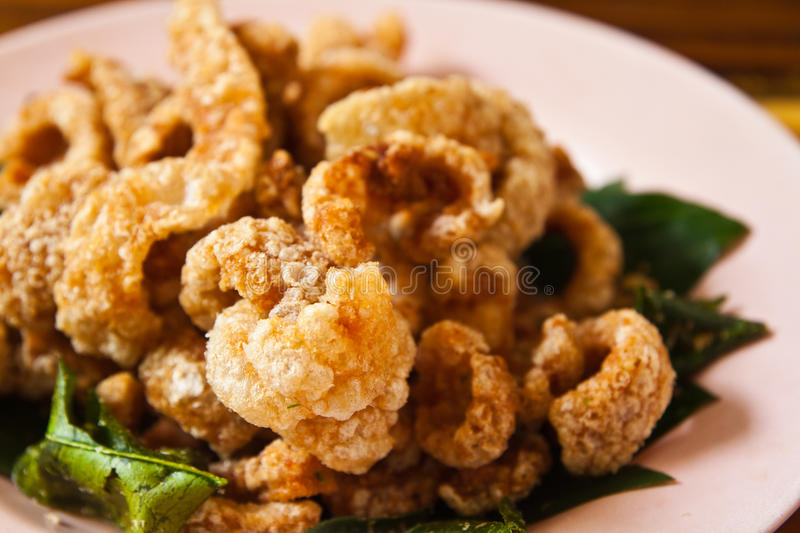 Crispy pork salted rind with thai herbal