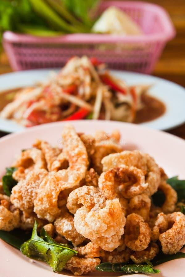 Crispy Pork Salted Rind With Thai Herbal Stock Images