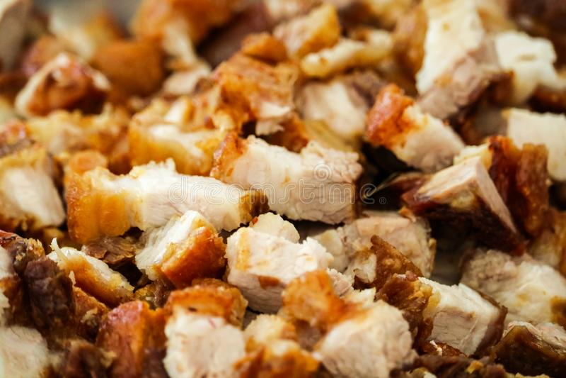 Crispy pork on street food famous in the pattaya city stock image