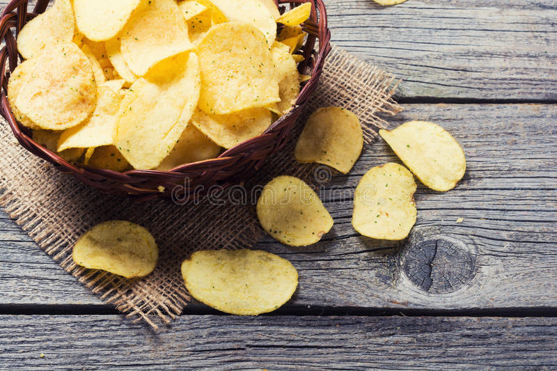 Download Crispy potato chips stock image. Image of meal, rustic - 87394155