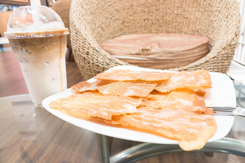 Crispy Roti with sweetened condensed milk royalty free stock images