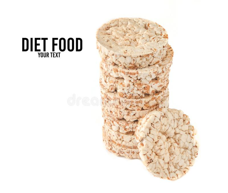Crispy round dietary buckwheat rice fitness bread isolated on white background. Food for weight loss. Crispy round dietary buckwheat rice fitness bread isolated stock photo