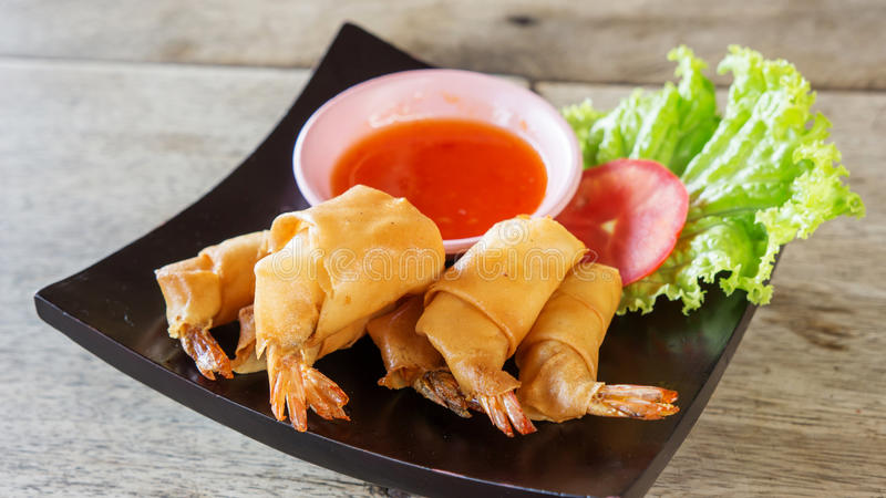 Crispy shrimp Spring rolls royalty free stock photo